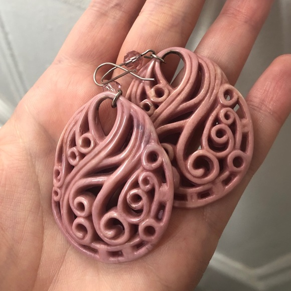 Tarina Tarantino Jewelry - Tarina Tarantino pink carved earrings